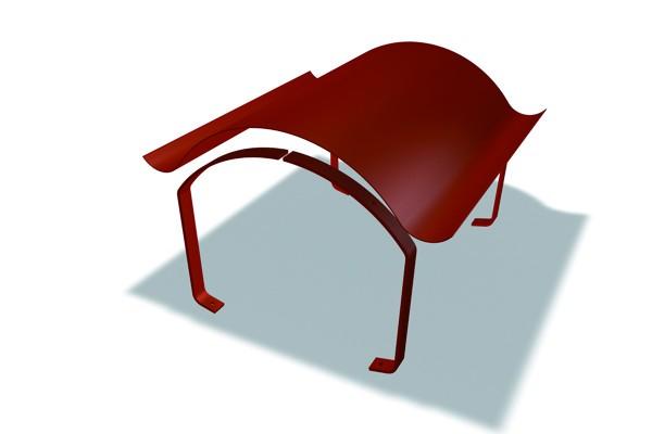 PREFA-Aluminium-KaminhutGröße V 1.500 x 800 mmaus Al 2.0 mm, incl. Streben und Niro-Schrauben