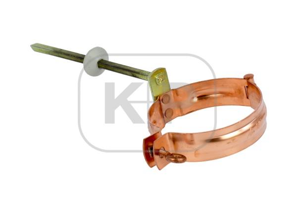 Kupfer Fallrohrschelle rund Ø76mm/Stift 200mm